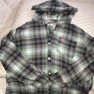 Hooded flannel long sleeved shirt